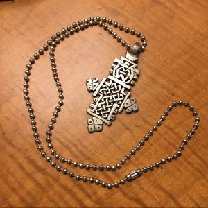 Tribal statement cross necklace